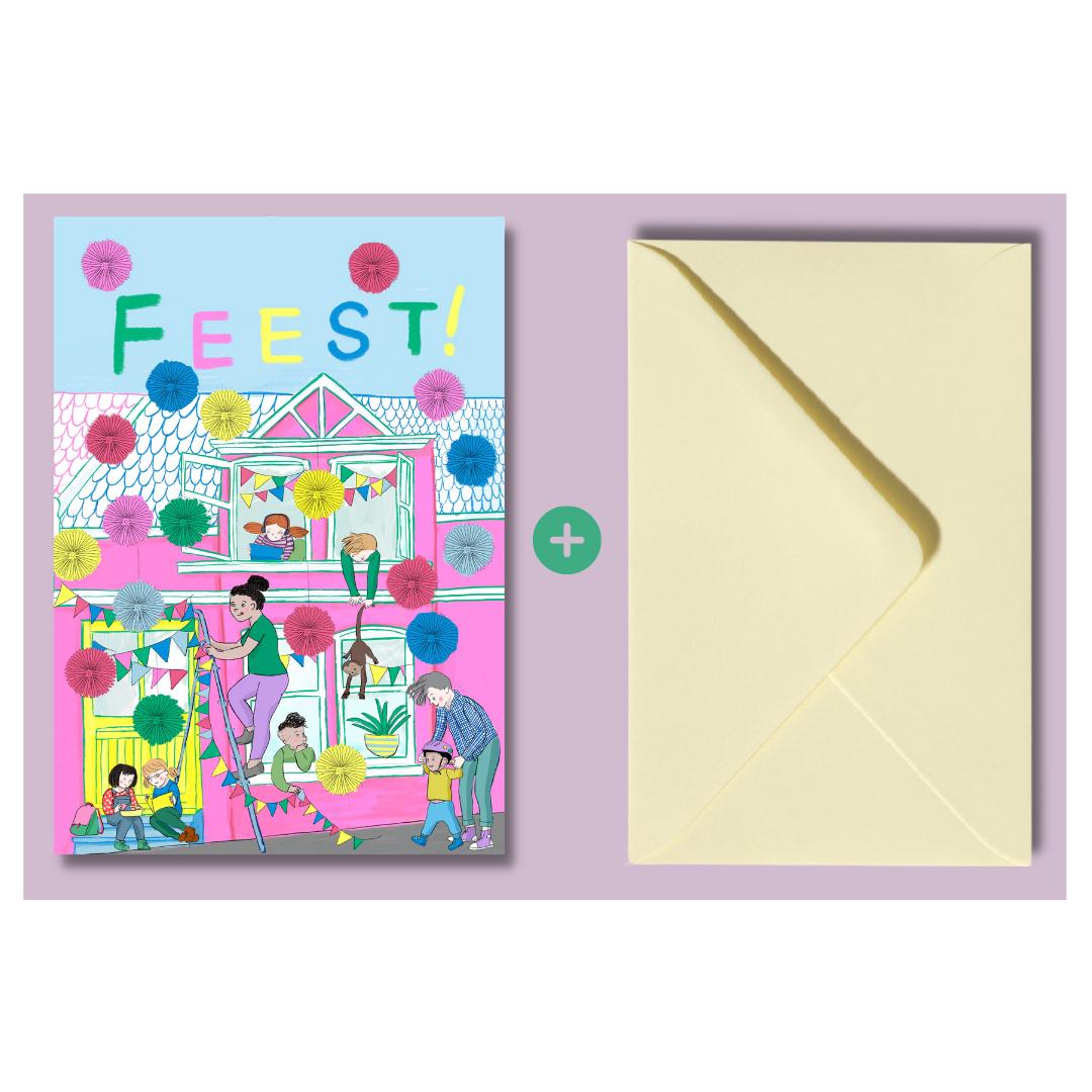 Feest-postkaart van 'Het huis met de gele deur' !